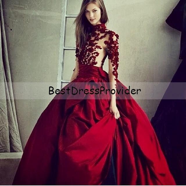 Burgundy Long Dress with Sleeves Ball Gown | Fashion Tips