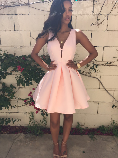 2015New Arrival Women Pink Party Dresses Sleeveless V-Neck Sexy Dress Ball Gown Fashion Girl Cute Dress Summer Vestidos(China (Mainland))