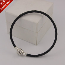 Lowest Price 925 Sterling Silver Clasp clip charms bracelet European Black genuine Leather DIY Starter Bracelet women Jewelry(China (Mainland))