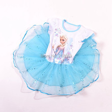 Retail 2015 Girl Elsa & Anna Princess childrens dresses 2-8ys summer baby clothing girls party lace Sequined dress(China (Mainland))