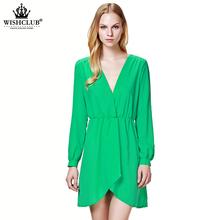 WISHCLUB 2015 New Women Lace Chiffon Dresses V-neck Long Sleeve Spring Autumn Black Blue Sexy Mini Casual Vestidos S-XL
