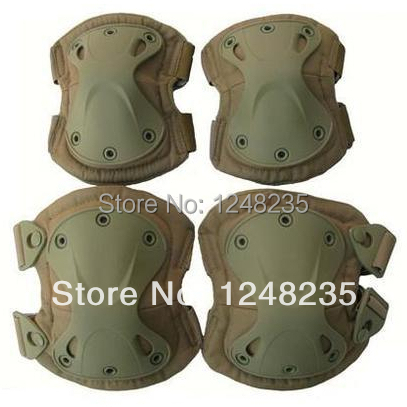 Free Shipping Top Quality Outdoor Tan Color Tactical Military Outdoor Sport Knee & Elbow Protective Pads Hunting Airsoft Hot(China (Mainland))