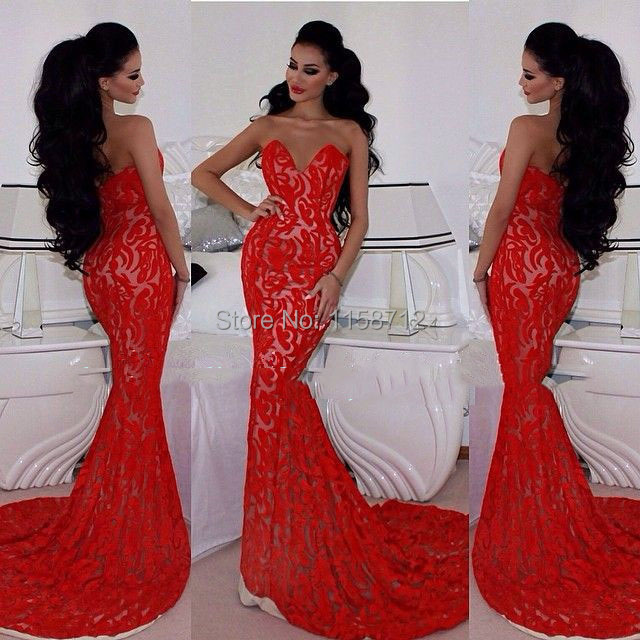 Fabulous Sweetheart Shulder Long Red Lace Mermaid Prom Dresse Appliques 2015 Court Train - Special Occasions Dresses Collection store