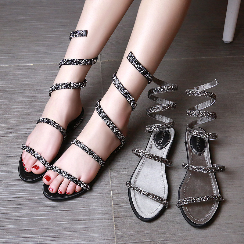 Rc 2015 Rhinestone Sandals Serpiform Open Toe Flat Heel Crystal Shoes Wedding Shoes Womens