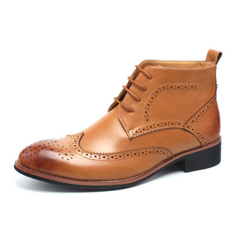 Cc Fashion Dress Shoes Men Boots Genuine Leather Brogue ...