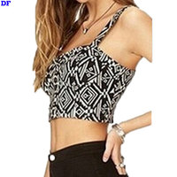 Fitness Women Tight Bustier Crop Top Skinny Geometric Print Tank Top Cropped Vintage Punk Rock Fashion Women's Tanks Sexy Tops D