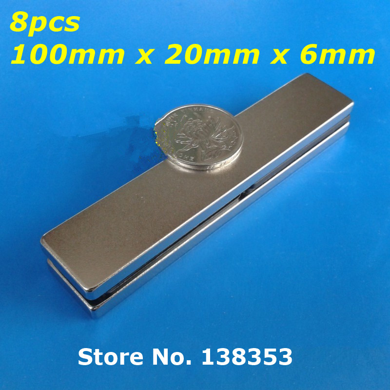 Wholesale 8pcs Super Strong Neodymium Rectangle Block Magnets 100mm x 20mm x 6mm N35 Rare Earth NdFeB Cuboid Magnet<br><br>Aliexpress