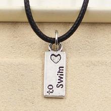 99Cents New Durable Black Faux Leather love to swim Cord Choker Charm DIY Necklace Pendant Retro Boho Tibetan Silver