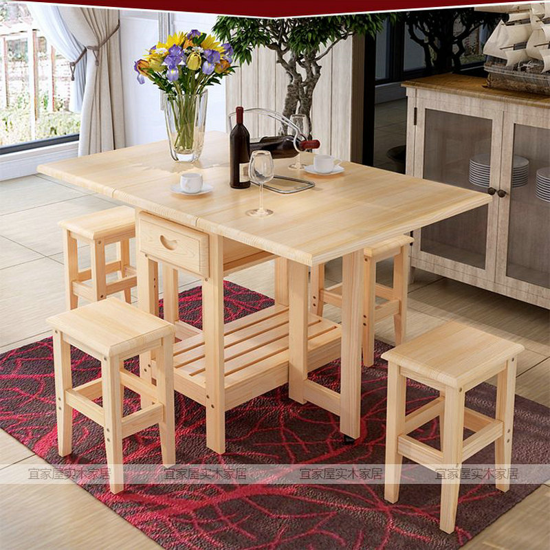 Solid Wood Foldable Square Coffee Dining Dinner Table With Four Chairs (NO Drawers) E1 Material Health Green Simple Fashion(China (Mainland))