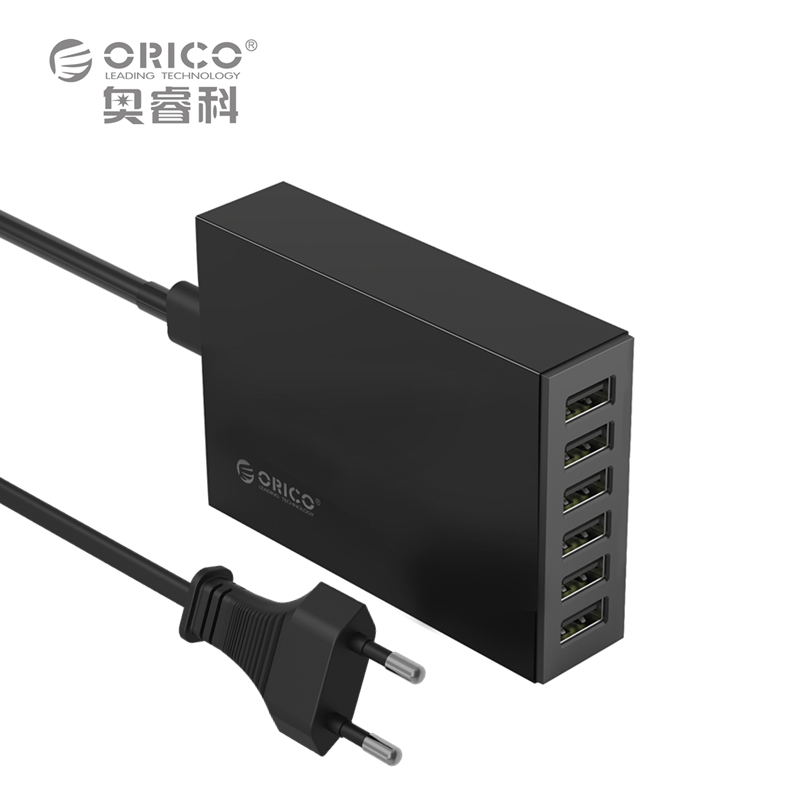 ORICO CSL-6U 5V2.4A EU Plug Desktop Charger Adapter 10A50W 6 USB Port Travel Charger - Black/White(China (Mainland))