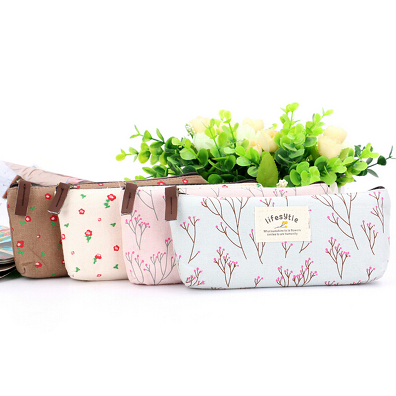 New Floral Fabric Student Stationery Canvas Pencil Pen Case Coin Purse Makeup Bag L09354
