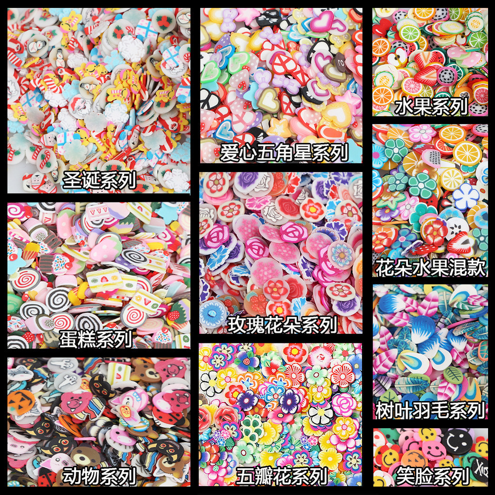 1000 Pcs 3D Mix Design Cute Series Heart Star Ribbon Flower Nail Art Fimo Slices Slicing Nail Stickers Decoration(China (Mainland))