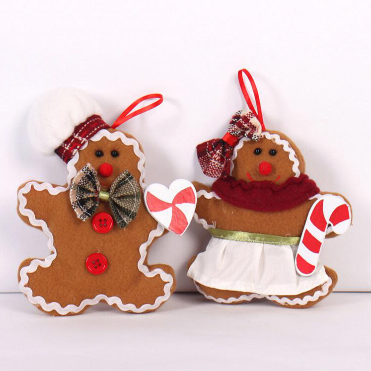 Gingerbread Man Christmas tree decorative plush small hanging pendant Christmas decoration cloth doll ornaments(China (Mainland))