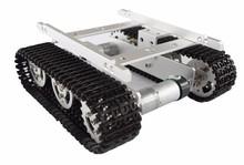 T100 Silber Aluminium legierung tank auto chassis/smart auto/Alle-metall hindernis-überwindung crawler motoren mit drehzahlerfassung encoder(China (Mainland))