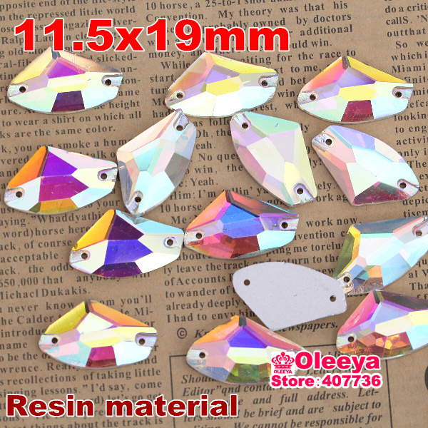 50pcs 11.5x19mm AX Shape Sew On Rhinestone Crystal AB Galactic Shape Sewing Crystal Buttons Resin Material Free Shipping Y2099(China (Mainland))