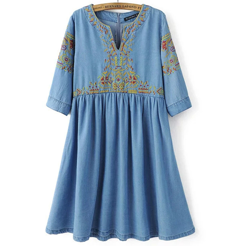 2016 Brand Casual Sexy Long Sleeve Ethnic Embroidery Cotton Denim Dress Women Vintage Tunic Casual Midi Dress RE897(China (Mainland))