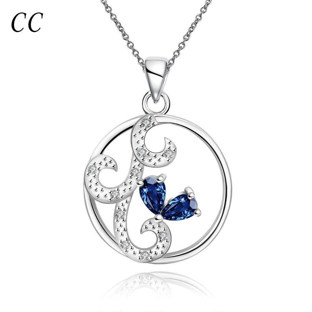 Circle shape blue CZ diamond silver plated beautiful pendant&necklaces for women delicate jewelry gift for girl bijoux CCNE0163(China (Mainland))