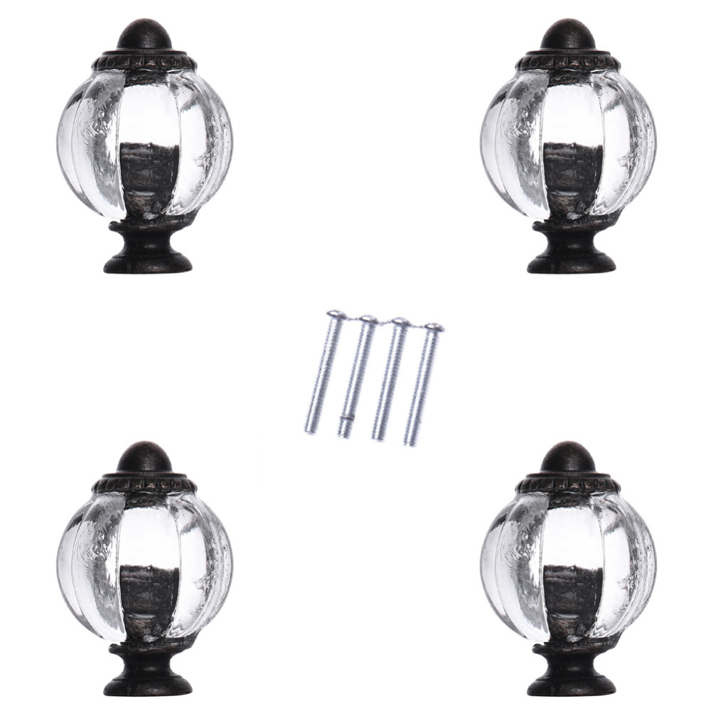 4pcs High Quality Acrylic Oval Antique Small Crystal Door Knobs Vintage Clear Drawer Dresser Decorative Pull Knobs Door Handles