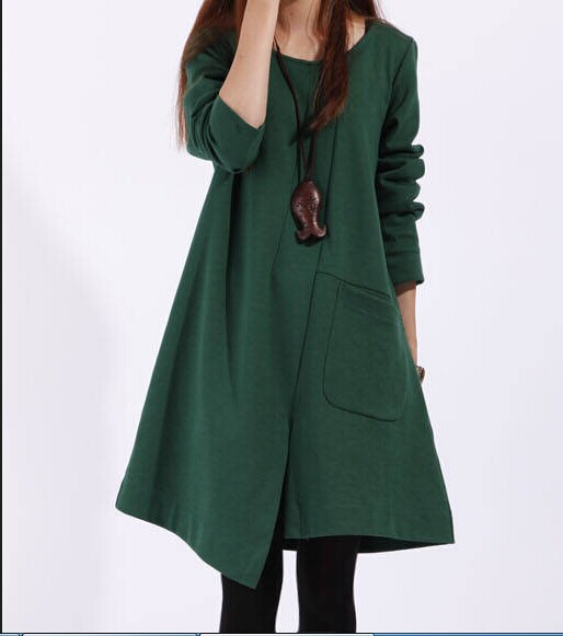 fashion spring autumn winter cotton black long sleeve plus size women casual loose vestidos dress party dresses 2015 - Cheap dress,women t-shirt, clothes store