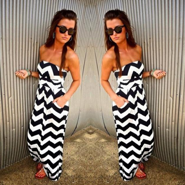 Summer Style Strapless Stripe Jumpsuit Women Loose Sleeveless Black and White Stripe Rompers and Jumpsuit Pants Casual Overalls(China (Mainland))