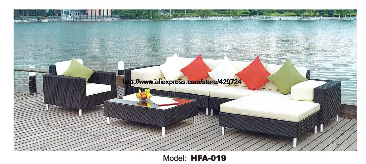 2016 L shaped Rattan Sofa Whole Set Include Table Cushions Garden Outdoor Pat