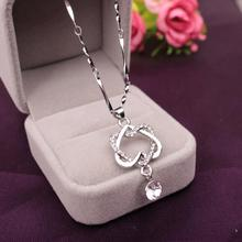 Buy New Gold Silver Color Crystal Rhinestone Double Heart Pendant Necklaces Women Lover Charm Jewelry Gifts for $1.61 in AliExpress store