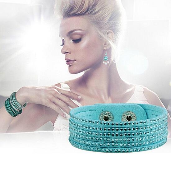 Factory Wholesale 2015 Personalized Leather Rhinestone Wrap Bracelet Charms Jewelry 20pcs/lot(China (Mainland))