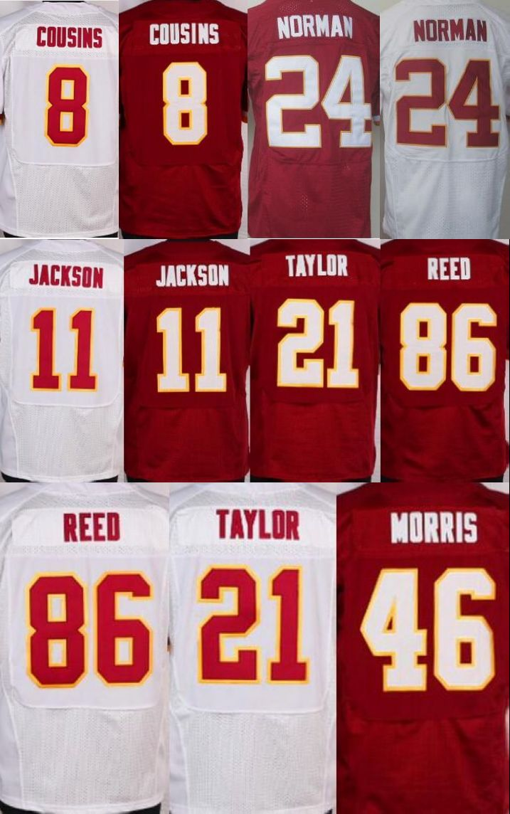 Chegada NOVA Kirk Cousins Jersey, #24 Josh Normando Elite Jerseys DeSean Jackson Branco Vermelho Jersey costurado Tamanho: M-XXXL(China (Mainland))
