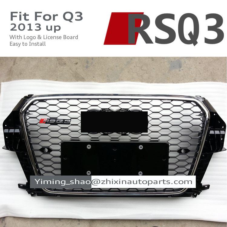 RSQ3 Front Grille ABS Car Bumper Grilles RS Sline S line Grills Race Bumper Grille Black Chrome For Audi Q3 SQ3 2013 2014 2015(China (Mainland))