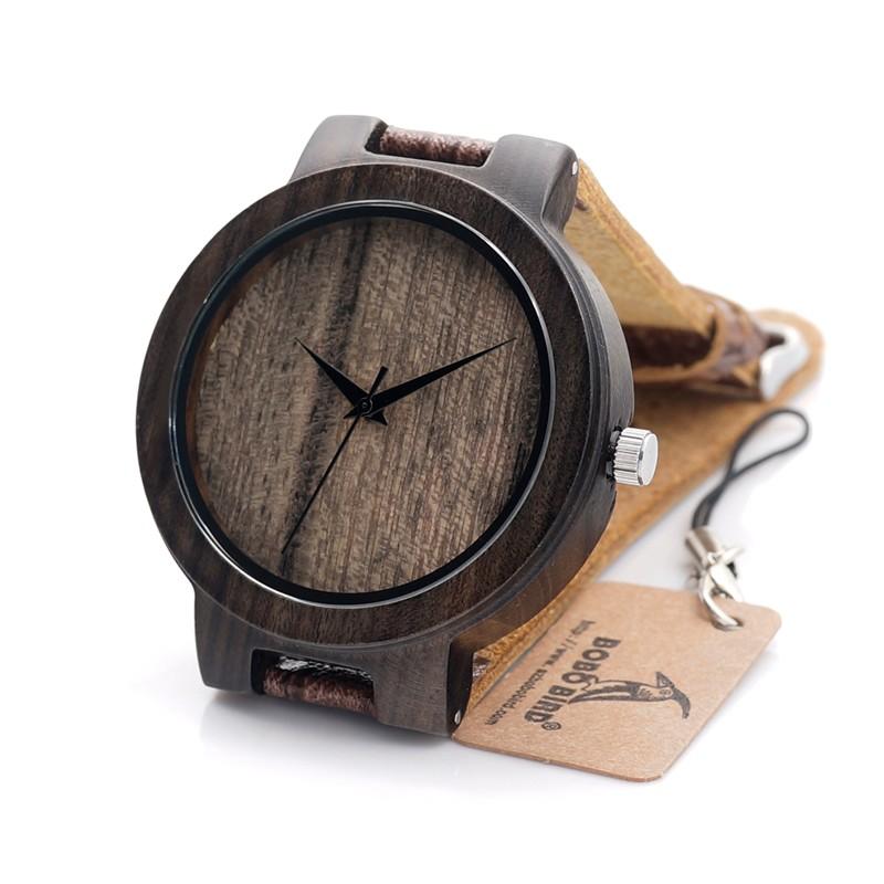 Бобо Птица D23P Древесины Смотреть Мужчин Деревянные Зерна Кожаный Ремешок Бренд дизайнер Япония Movenment Кварцевые Часы для Мужчин и Женщин в Подарочной Коробке