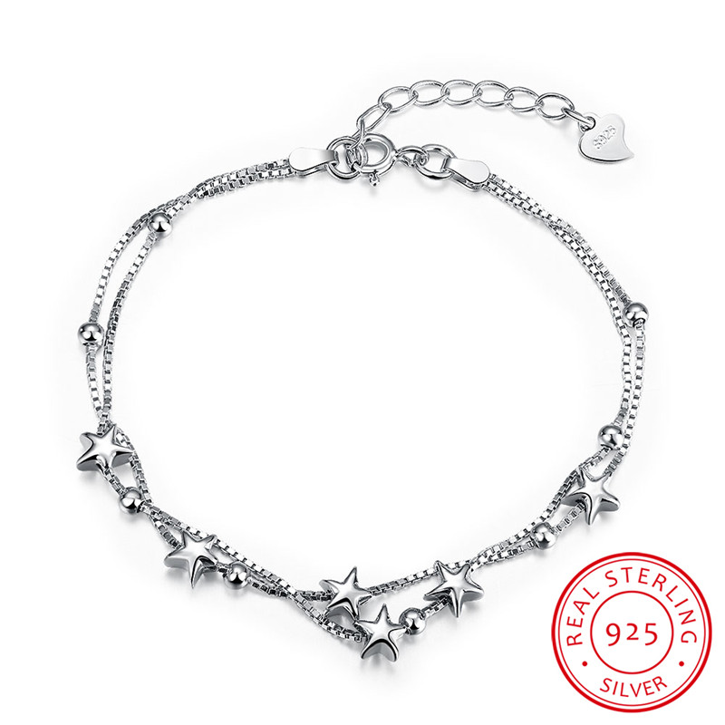 European And American Real 925 Sterling Silver Star Charm Bracelets Fashion Jewelry For Women Chain Link Bracelets Gifts Bijoux(China (Mainland))