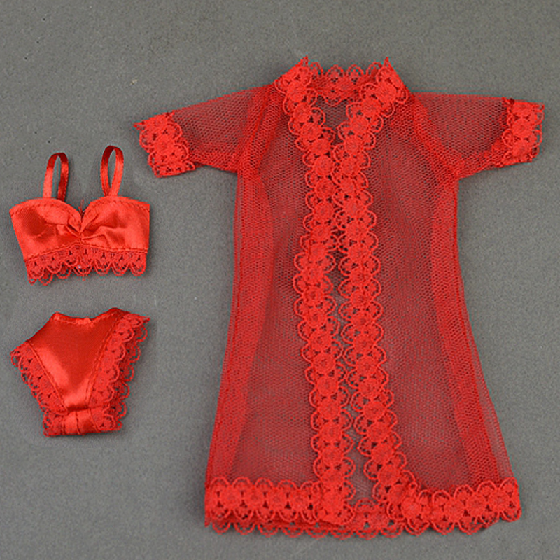 Doll Equipment Horny Garments for Barbie Pajamas Lingerie Lace Coat + Bra + Underwear Garments For Barbie Doll Garments Sizzling promote