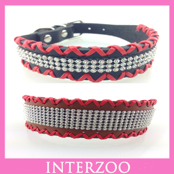Pet Products Manufacturer 2015 New Design High Quality Handmade Genuine Cow Leather Weaved Bling Rhinestone Pet Collar Dog DC051(China (Mainland))