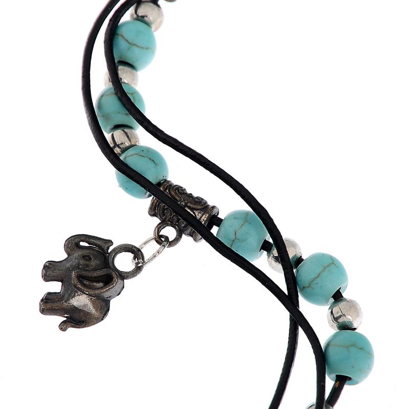 Sexy Women Lady Tibetan Sliver Plated Turquoise Beads Elephant Pendant Anklet Foot Chain Ankle Bracelet[GE09065/YT]