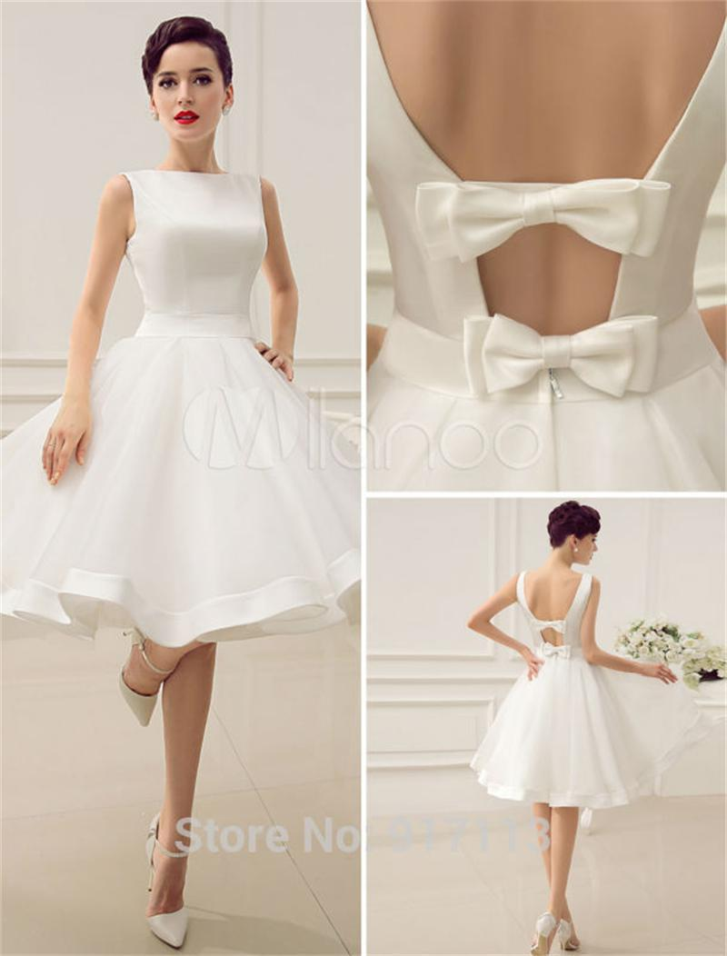 Vestido de noiva 2015 curto cut out backless satin short for Short ivory wedding dress