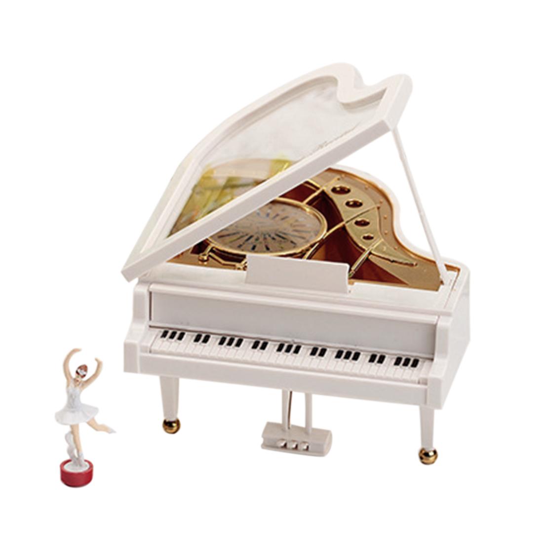 Piano Shape Twirling Ballerina Music Box Girl's Jewel Case Valentine Gift Home Decor - White(China (Mainland))