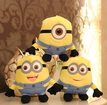 3D eyes 25 cm despicable me minion soft plush toy Free shipping 3 pcs/set