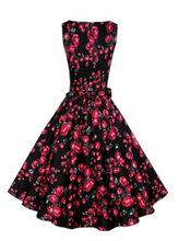 2015 Amazon hot Hepburn wind sleeveless dress belt retro T-shirt printing