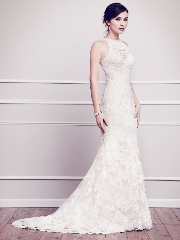 High quality vintage lace wedding dress 2015 halter neck for Aline halter wedding dresses