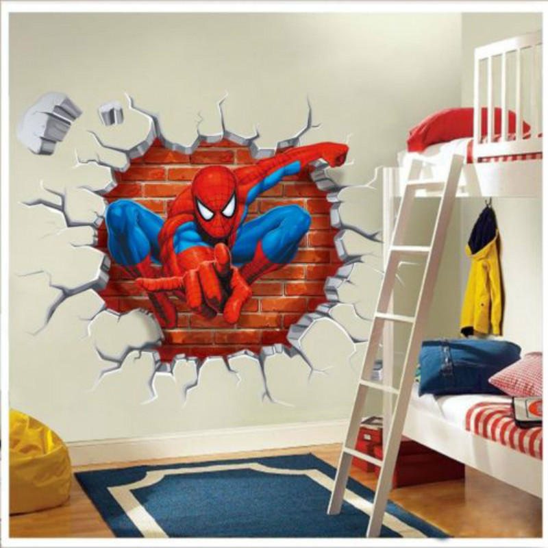 Online buy wholesale spider man 3d wallpapers from china for Stickers 3d pared