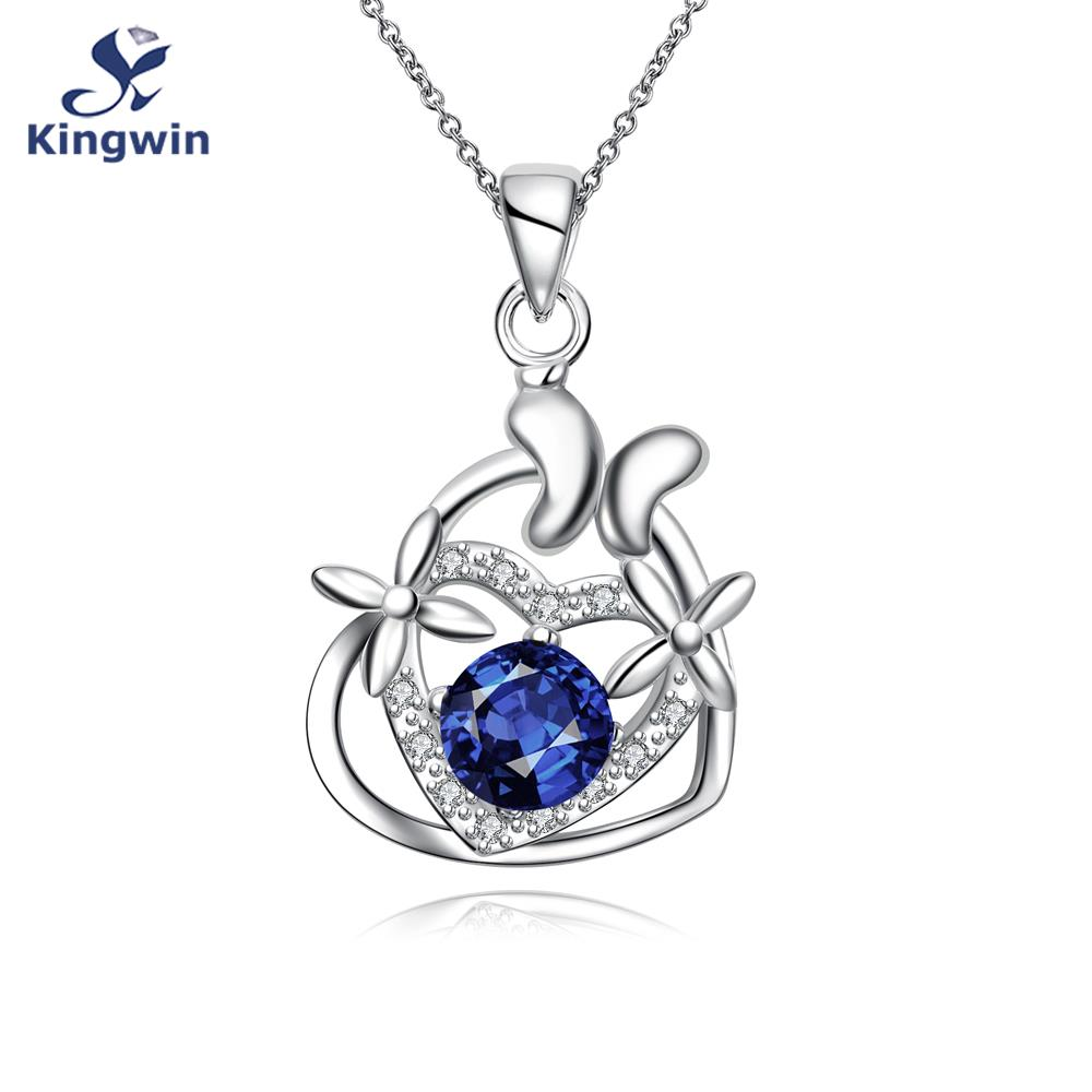 New Italy fashion jewelry silver 925 pendant necklace color stone, heart love necklace with 45cm chains for girls gift.(China (Mainland))