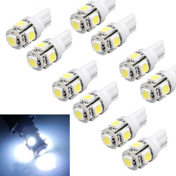 Gofuly New 10pcs T10 Wedge 5-SMD 5050 Xenon LED Light bulbs 192 168 194 W5W 2825 158 White Free shipping & wholesale(China (Mainland))