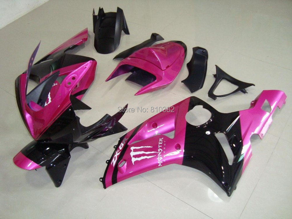 Motorcycle Fairing kit for KAWASAKI Ninja ZX6R 03 04 ZX6R 636 2003 2004 Pink black ABS Plastic Fairings set +7 gifts SQ15(China (Mainland))