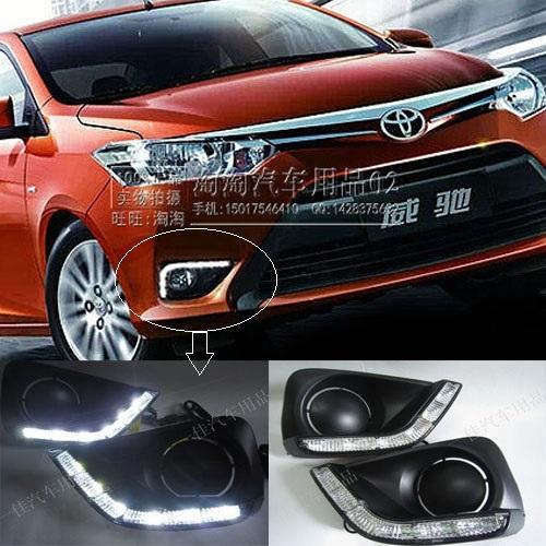 Фотография Free shipping ! 12V 6000k LED DRL Daytime running light for Toyota Vios 2014 fog lamp frame Fog light