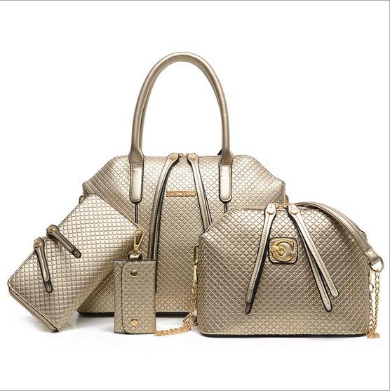 Women Handbag Genuine Leather Crossbody bag brand Tote Fashion Women Messenger Bags Clutch Shoulder Bag Bolsas four-piece(China (Mainland))
