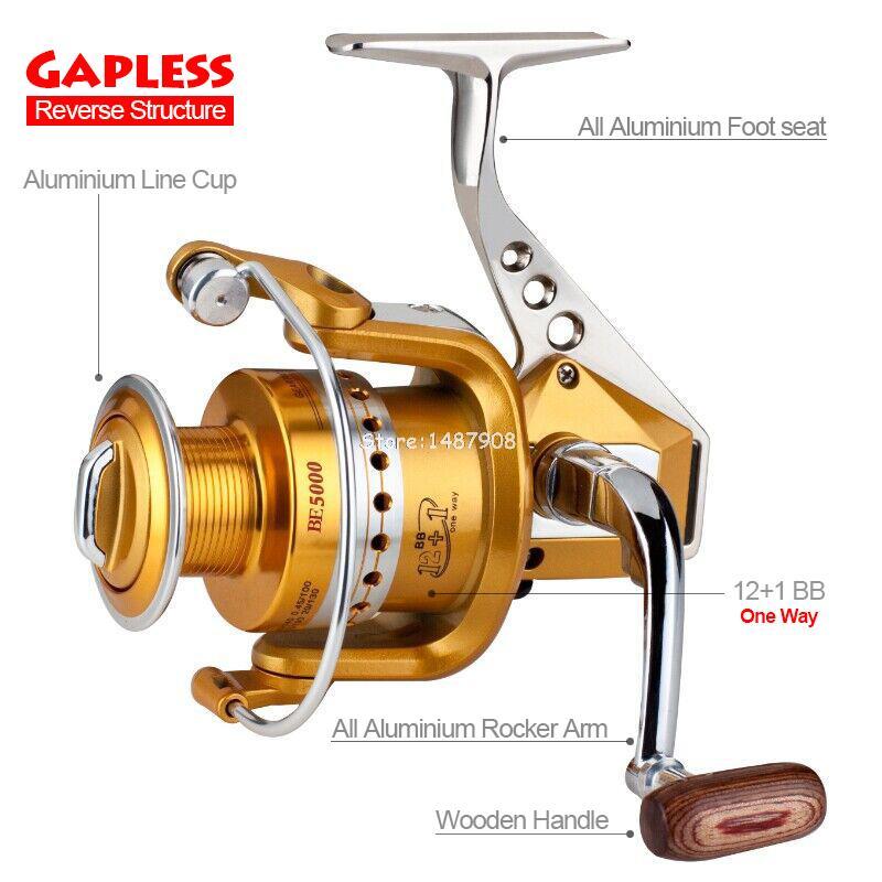 2015 New Gapless Reverse Fishing Spinning Reel 12+1BB Aluminum Spool Arm Seat Body All Metal Fishing Reel L378(China (Mainland))