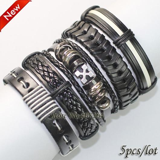 FL16- handmade punk bangles black rock wristband ,ethnic braid leather bracelet wrap men women() - SunFlower Trade Co.,Ltd store