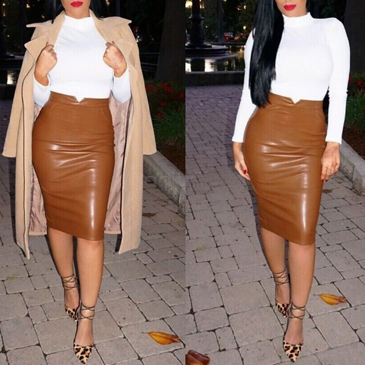 fashion pu faux leather skirt high waist bodycon