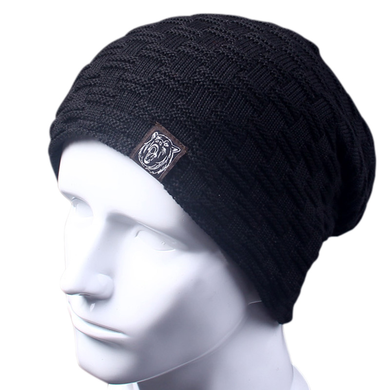 Casual Brand Men Winter Hat Beanie Hats Fur Warm Baggy Knitted Skullies Bonnet Ski Sports Adult Cap New Arrival Beanies(China (Mainland))