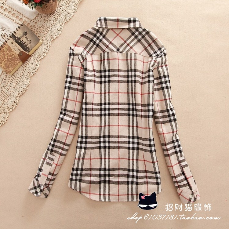 15color Shirt female long-sleeve autumn 2013 women's plus size outerwear thickening 100% cotton slim plaid shirt clothing female
